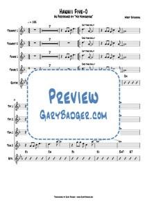 Hawaii Five-0 - Trumpet Tenor Sax Guitar