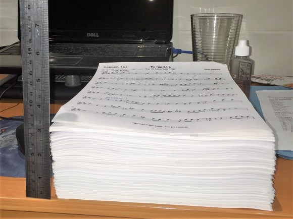 A ream of transcriptions. The pile of trumpet charts I've transcribed, to date.