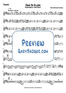 Save Ferris - Come on Eileen - Trumpet chart. Transcribed by Gary Badger - www.GaryBadger.com