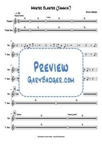 Stevie Wonder - Master Blaster - Trumpet+Tenor Sax. Transcribed by Gary Badger - www.GaryBadger.com