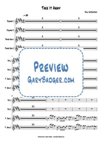 Paul McCartney - Take It Away - Trumpets Tenor Sax charts. Transcribed by Gary Badger - www.GaryBadger.com