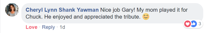 Chuck Mangione's feedback to seeing and hearing my recording of To the 80's.