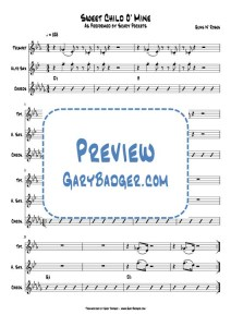 Scary Pockets - Sweet Child O' Mine - Trumpet Sax charts. Transcribed by Gary Badger - www.GaryBadger.com