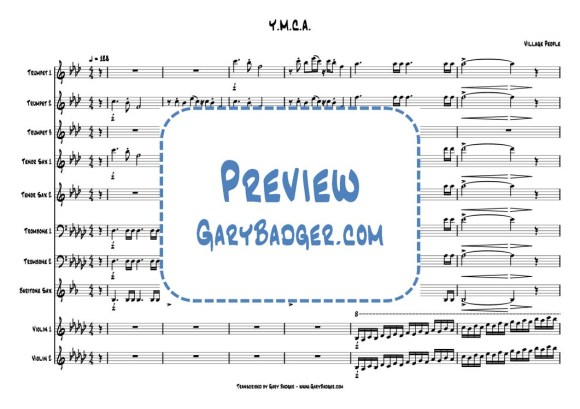 Village People - Y.M.C.A. Trumpet Trombone Sax Violin score and chats. Transcribed by Gary Badger - www.GaryBadger.com