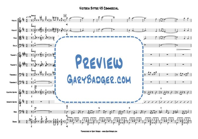 Victoria Bitter VB Commercial Score&Parts Strings Brass Rhythm Section. Transcribed by Gary Badger - www.GaryBadger.com