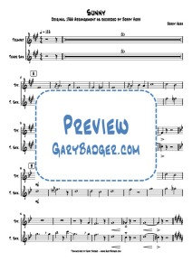 Bobby Hebb - Sunny - Trumpet Sax. Transcribed by Gary Badger - www.GaryBadger.com