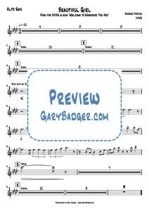 INXS - Beautiful Girl - Alto Sax. Transcribed by Gary Badger - www.GaryBadger.com