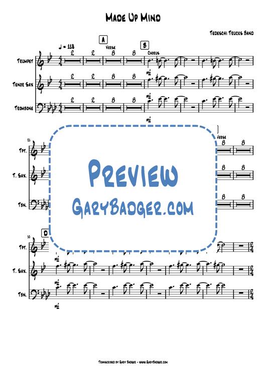 Tedeschi Trucks Band - Made Up Mind - Trumpet Tenor Sax Trombone. Transcribed by Gary Badger - www.GaryBadger.com