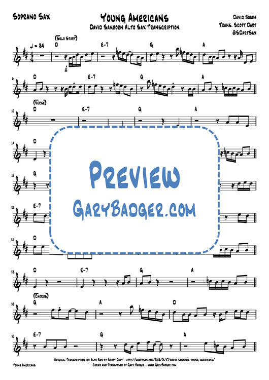 David Bowie - Young Americans - Soprano Sax chart. Transcribed by Gary Badger - www.GaryBadger.com