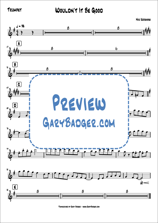 Nik Kershaw - Wouldn't It Be Good - Trumpet Tenor Sax charts. Transcribed by Gary Badger - www.GaryBadger.com