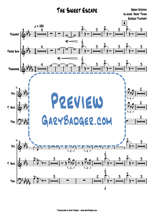 Gwen Stefani - The Sweet Escape - Trumpet Tenor Sax Trombone. Transcribed by Gary Badger - www.GaryBadger.com