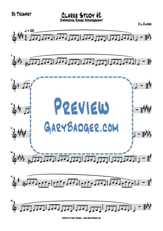 Clarke Study #2 Expanding Range arrangement - Trumpet. Adapted by Gary Badger - www.GaryBadger.com