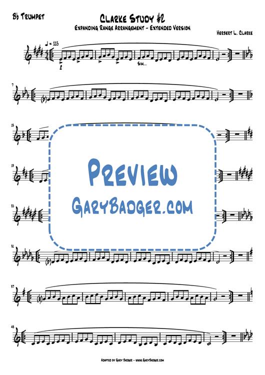 Clarke Study #2 Expanding Range EXTENDED arrangement - Trumpet. Adapted by Gary Badger - www.GaryBadger.com
